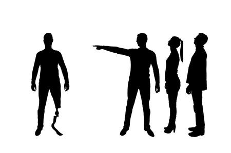 Silhouet vector. Menigte van mensen maakt een gehandicapte met een beenprothese duidelijk dat hij weg moet gaan. Het concept van discriminatie van mensen met een handicap in de samenleving
