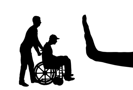 Vector silhouette of sad disabled man in wheelchair with nurse and hand gesture stop. Concept of care and care for people with disabilities