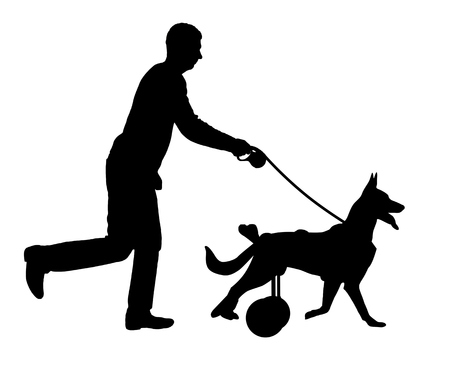 Silhouette vector Dog in a wheelchair is running with its owner. The concept of helping pets