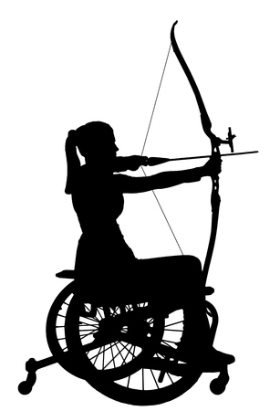 Vector silhouette of a disabled woman in a wheelchair engaged in sports archery. The concept of disabled people leading an active lifestyle