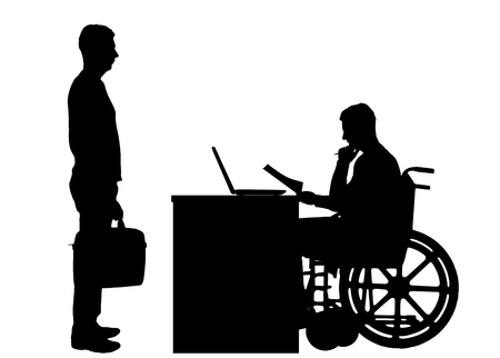 Silhouette vector of a man a businessman disabled in a wheelchair sitting at a table holds an interview with a man about hiring to work. The concept of working disabled people Illustration