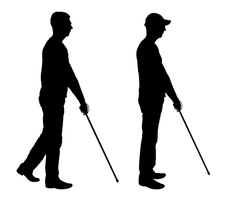 Vector silhouette of a blind disabled man with a cane in his hand. The concept of blind people with disabilities