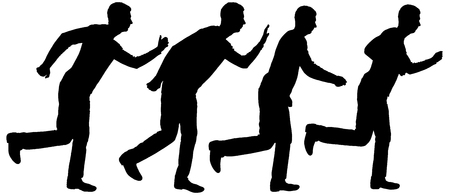 Vector silhouette of four business running men. Business concept