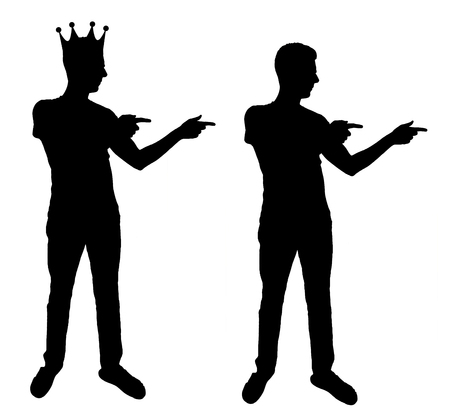 Concept of a narcissistic and egoistic man. Silhouette vector of a man standing, motivating himself at the mirror and sees in the reflection of himself with a crown on his head Vectores