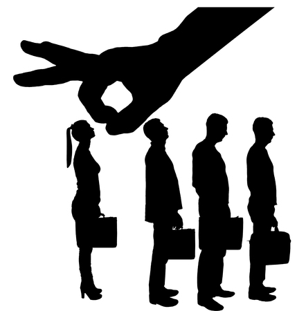 Silhouette vector of a big hand employer prefers male employees instead of women. The concept of gender inequality and discrimination in a career for women