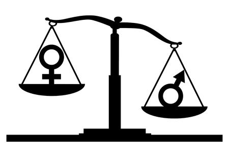 Vector silhouette of gender symbols on the scales of justice where the male symbol predominates. The concept of gender inequality in women