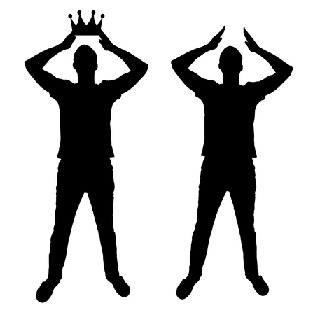Concept of narcissism and selfishness. Silhouette vector of a selfish and narcissistic man reconciling his own crown Illustration