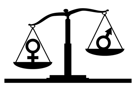 Vector silhouette of gender symbols on the scales of justice where the female symbol predominates. The notion of the superiority of women over men