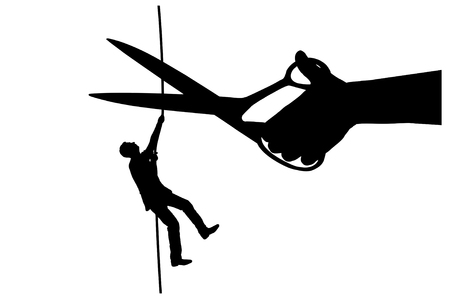 Silhouette vector of a businessman climbs on a tightrope and a hand with scissors intends to cut a rope. Concept of risks in business