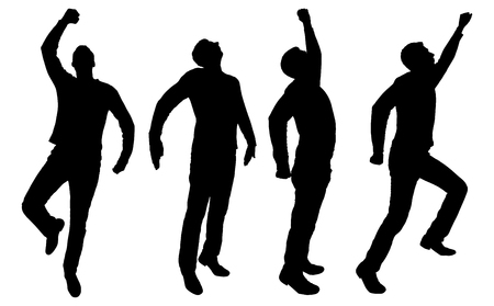 Vector silhouette of four business men of superheroes. Business concept