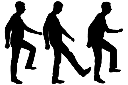 Vector silhouette of three men in profile, take a step forward. Business concept Illustration