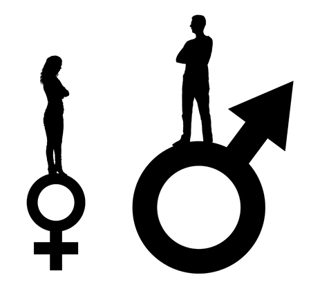 Vector silhouette of a big man and a small woman standing on gender symbols. The concept of gender inequality and discrimination