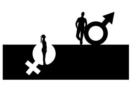 Vector silhouette of a superior man over a woman who stands in a pit out of a gender symbol. The concept of gender inequality and discrimination Stock Vector - 99780961