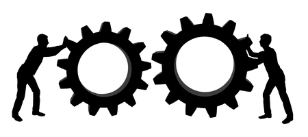 Vector silhouette of two men. They intend to connect the gears to achieve a balance. Business concept