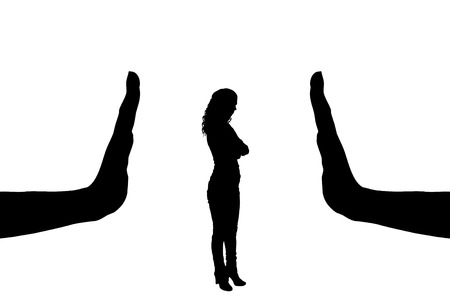 Vector silhouette of a female worker and gesture of a big hand stop. The concept of gender inequality in discrimination