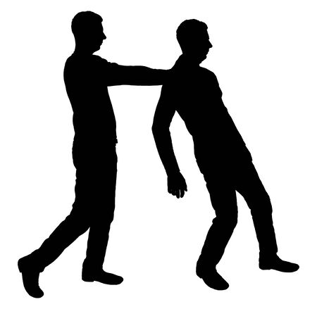 Vector silhouette of two men. One man pushes another. Business concept