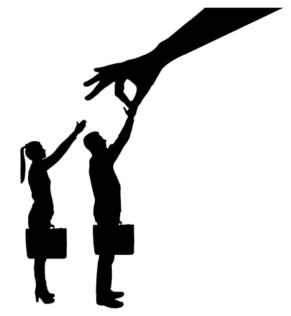 Vector silhouette of a big hand employer prefers a male employee instead of a woman. The concept of gender inequality in career discrimination