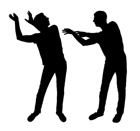 Concept of greed and competition in business. Silhouette vector of a man trying to take away from another man