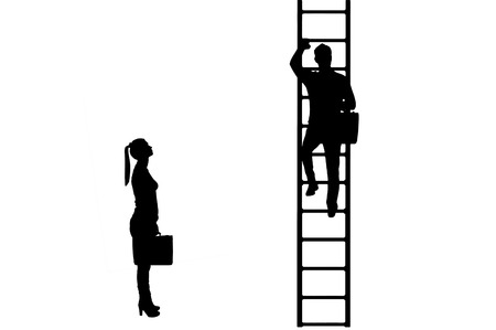 Silhouette vector of workers, a man climbs the career ladder instead of a woman. The concept of gender inequality and discrimination against women in their careers Illustration