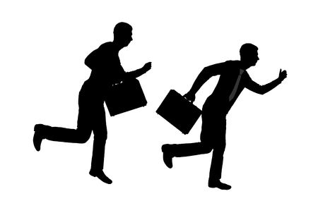 Vector silhouette of two running business men with briefcase. Business concept
