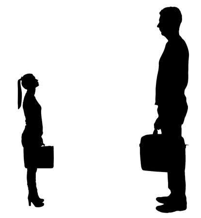 Vector silhouette of workers, a big man and a small woman. The concept of gender inequality in a career