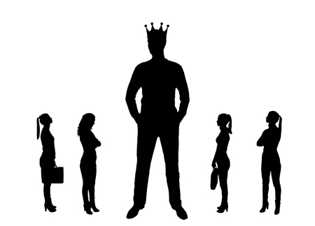Vector silhouette of a big man with a crown and four small women near him. The concept of gender inequality
