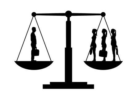 Vector silhouette of one man and three women on the scales of justice. The concept of gender inequality