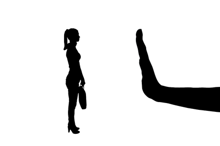 Vector silhouette of a female worker and gesture of a big hand stop. The concept of gender inequality in women with employment at work