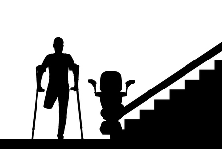 Silhouette vector Disabled person without a leg with crutches and a lift for disabled people. Concept disabled lift, elevator, handicap