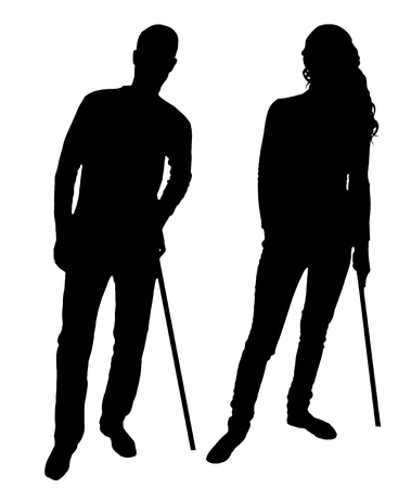 Silhouette vector of a disabled man and woman supports herself with a crutch. The concept of people disabled with crutch Stock Photo
