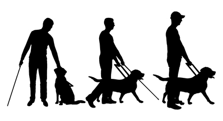 Silhouette vector of a three blind man disabled man follows a dog guide. The concept of the blind invalid and the dog guide