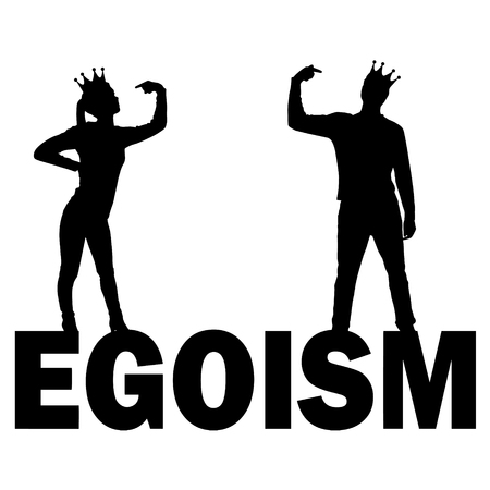 Silhouette vector of a narcissistic woman and a man with a crown on her head showing each finger on herself standing on the word egoism. The concept of narcissism and selfishness in society Çizim