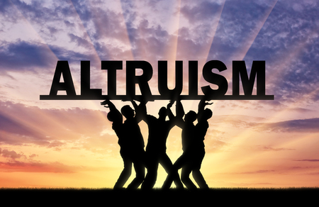 Group of altruistic men hold the big word altruism. Concept and populizatsiya altruism in society Imagens