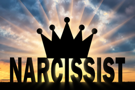 Silhouette of the Big Crown lies on the word Narcissist Concept of narcissistic people in society Reklamní fotografie