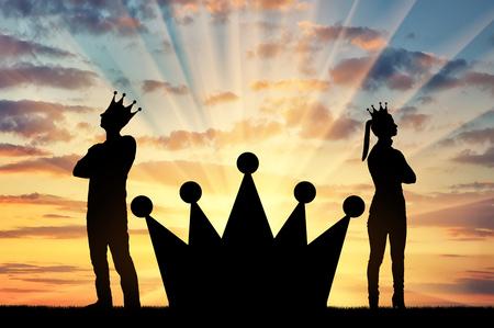 Eine große Krone zwischen einem egoistischen Mann und einer Frau mit einer Krone auf dem Kopf, sie stehen mit dem Rücken zueinander. Konzept des Egoismus in der Gesellschaft