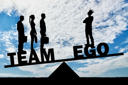 Team of three employees weighs more than one with their big ego. Concept of teamwork, not selfishness in work
