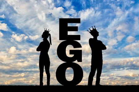 Big ego word between a selfish man and a woman with a crown on their head, they stand with their backs to each other. Concept of selfishness and arrogance in society