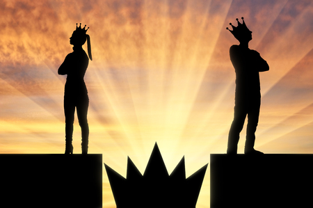 Big crown is like a spike trap between a selfish man and a woman with a crown on her head they stand with their backs to each other. Concept of selfishness and arrogance in the family Imagens