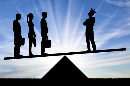 Three employees of the team are weightier than one selfish employee with a crown on the scales. Concept of team spirit in business and not selfishness