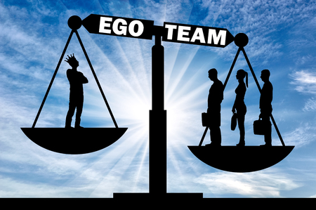 Three employees is a team in priority than one with their ego. Concept of team and not ego in work Imagens