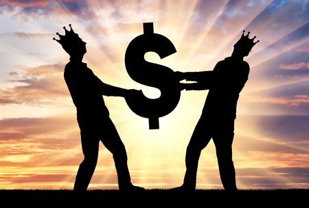 Two greedy and selfish men with crowns on their heads can not divide the dollar sign. Concept of greed, selfishness in business