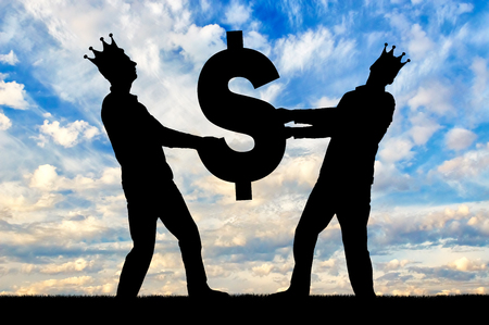 Two greedy and selfish men with crowns on their heads can not divide the dollar sign. The concept of selfishness and greed as social problems