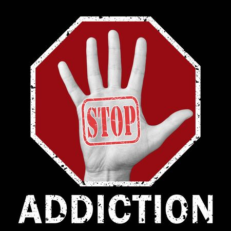 Stop addiction conceptual illustration. Global social issue. Open hand, with the text stop addiction. Social problem