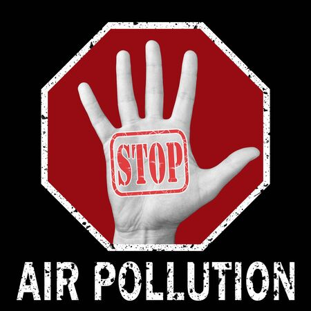 Stop air pollution conceptual illustration. Open hand with the text stop air pollution. Global social problem Banque d'images - 133682138