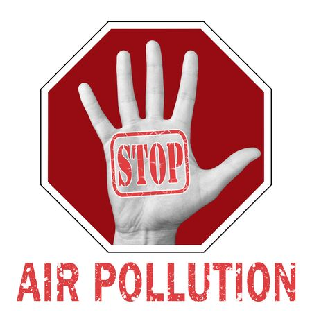 Stop air pollution conceptual illustration. Open hand with the text stop air pollution. Global social problem Banque d'images - 133682194