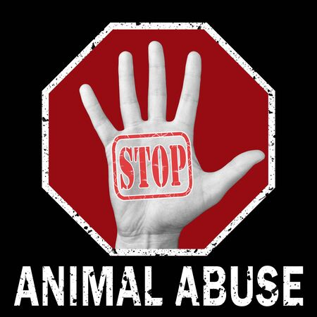 Stop animal abuse conceptual illustration. Open hand with the text stop animal abuse. Global social problem 스톡 콘텐츠