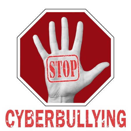 Stop cyberbullying conceptual illustration. Open hand with the text stop cyberbullying. Global social problem