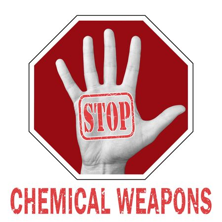 Stop chemical weapon conceptual illustration. Open hand with the text stop chemical weapon . Global social problem Banque d'images - 133682477