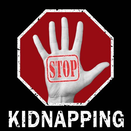 Stop kidnapping conceptual illustration. Open hand with the text stop kidnapping. Global social problem Imagens