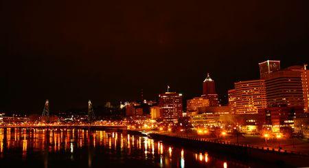 nightscene: Portland At Night With River Stock Photo
